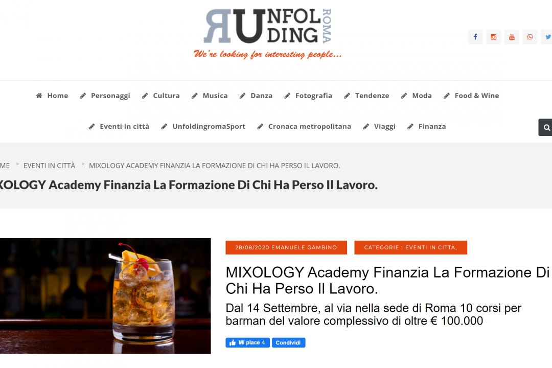 Unfolding Roma su MIXOLOGY Academy
